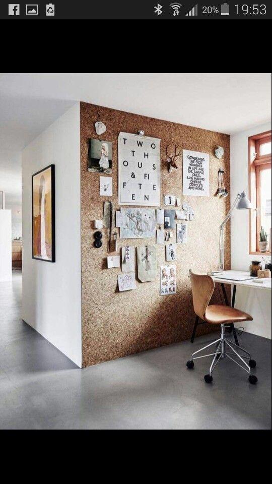 Cork board notice board wall, great idea for Hopes room