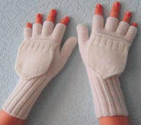 Варежки-перчатки.  Вязание спицами