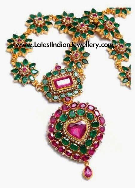Unique Emerald Ruby Necklace