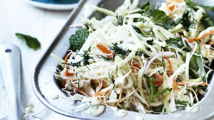 You can go creamy or less-so with Neil Perry's Must-have mustard slaw.