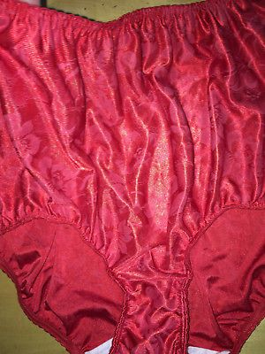 cf9efaadd78a M/6 Vintage New Fruit of the Loom - 80's Red Satin Floral Full Rise Sexy  Pantie