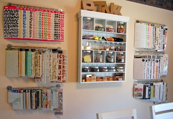 Maybe Ikea sells towel rods in bulk...seems like a lot of these craft room storage ideas involve towel rods. danideskjob