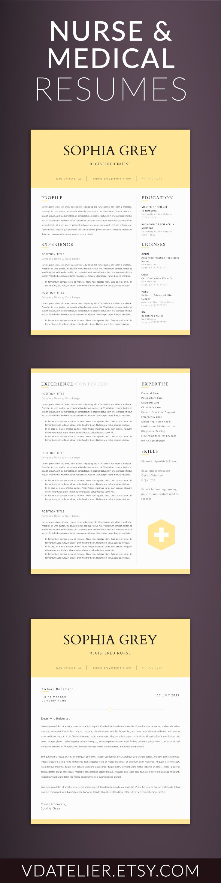 Doctor Resume Template for Word, Nurse Resume Template | Nurse CV Template | RN Resume, Medical Resume | US Letter & A4 | 1,2 Page Resume