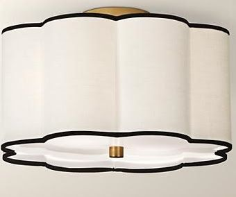 robert abbey axis two light flushmount aged brass finish with white acrylic glass with scalloped fondine fabric shade