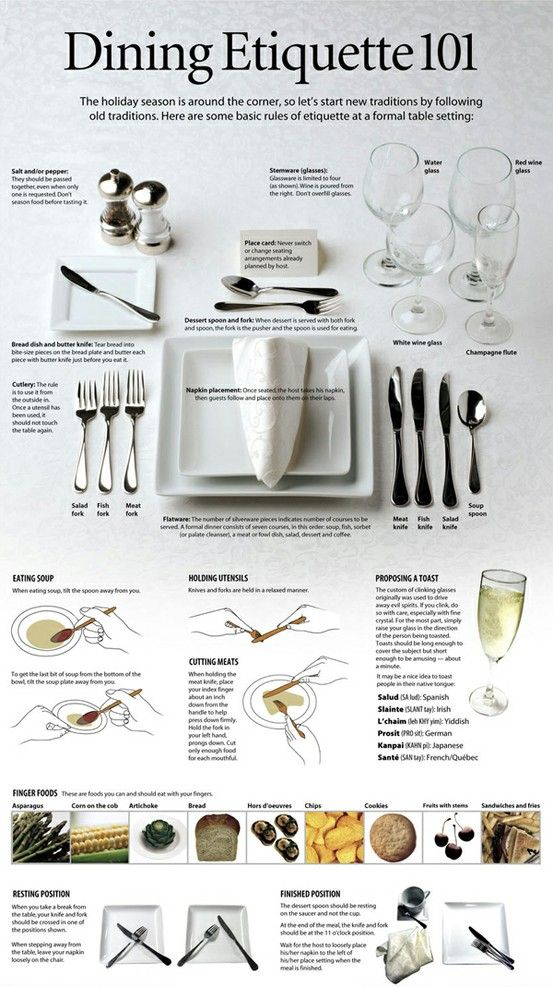 Do you get confused by which fork to use at a formal table setting or which foods are OK to eat with your fingers at a fancy restaurant? Use this helpful guide to brush up on your dining etiquette.: Dining Etiquette, Tables Sets, Diningetiquette, Etiquette101, Table Setting, Cheat Sheet, Etiquette 101, Dinners Parties, Tables Manners