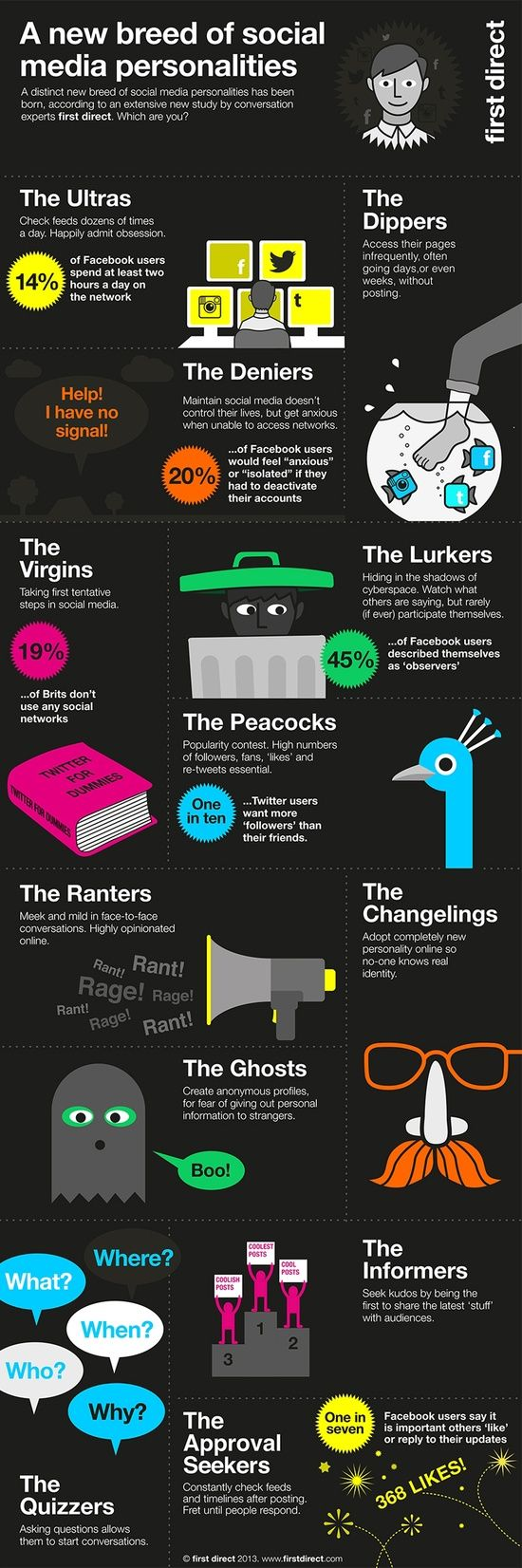 Type of Social Media Users.  Which one are you?  We are definitely The Ultras here at Lab3 Marketing!