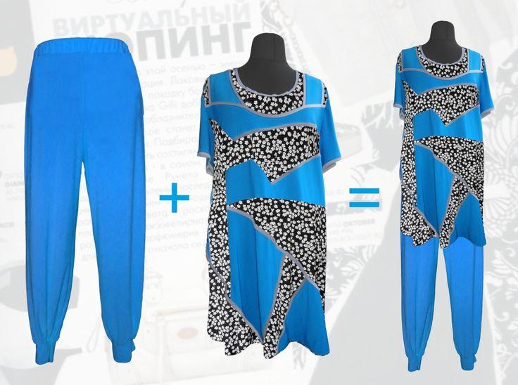 56$ Летний брючный костюм для полных девушек: трикотажная туника с шифоновыми вставками в мелкий белый цветочек + трикотажные брюки-шаровары Артикул 699, р50-64