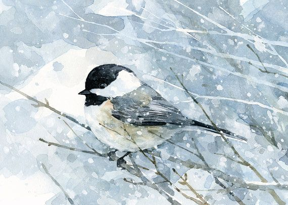 Chickadee in snow watercolor art print, bird painting, 5×7