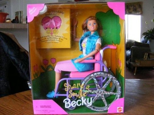 """In 1997, Mattel offered """"Share A Smile Becky""""--the wheelchair Barbie doll that turned out to be less than fully accessible."""