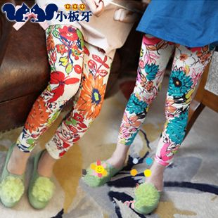2013 autumn korean children baby child ink big flower print leggings girls long pants 6263 only $6.76USD a Piece