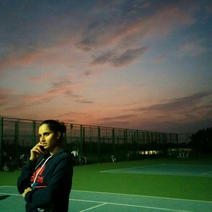 When a random photo turns artistic 😌 Beautiful sunset and the Sania Mirza Tennis Academy ❤️ #Nofilter