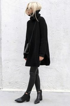Skinny jeans and black knit!