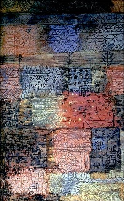 "Mixed-Media Sgraffito Patterns on Colour Fields - would do with yr 7-8 - image inspiration:""Villas Florentinas"", 1926 - Paul Klee"