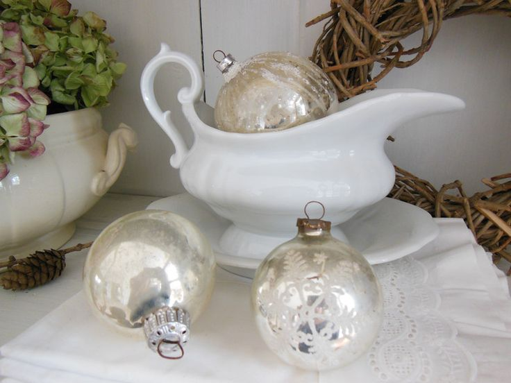 3er Set Christbaumkugeln mit Dekor von Petite Maison auf DaWanda.com