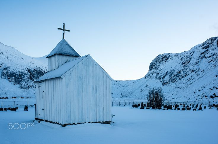 the white chapel - the white chapel on the cementary of the unstad beach. lofoten