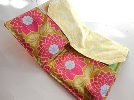 My Tampon and Pad Holder - Fushia Pink Chrysanthemum Geometric Handmade