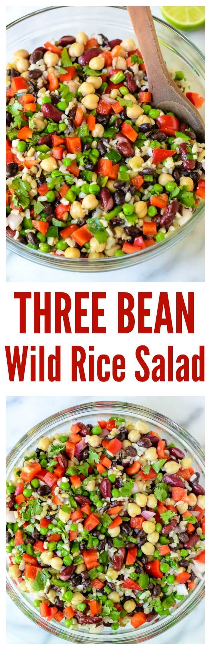 Three Bean Wild Rice Salad. The ultimate potluck recipe! | www.wellplated.com @wellplated.