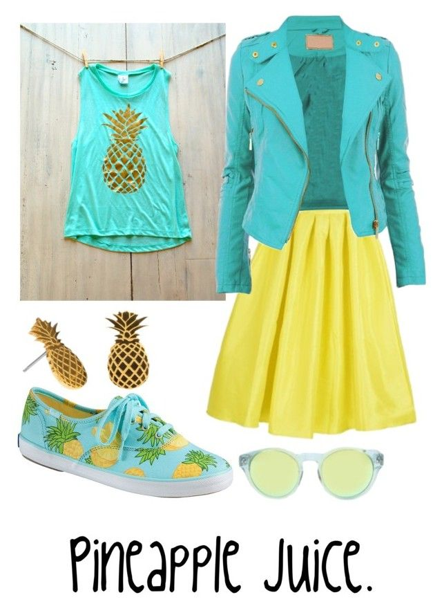 """Pineapple juice"" by lilithowl on Polyvore featuring Keds, Triple Graces, yellow, aqua, mint, turquoise and pineapple"