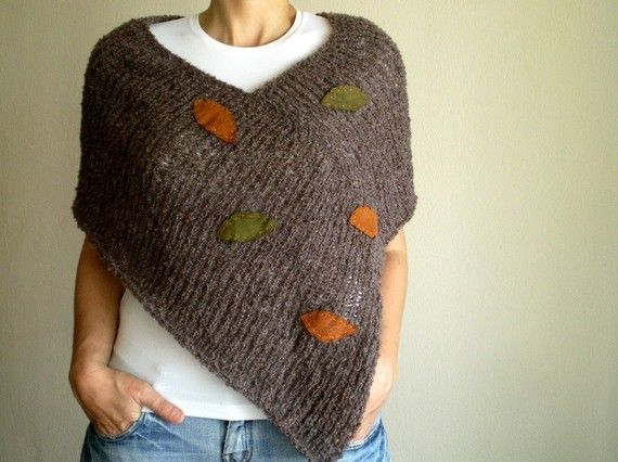Knit Taupe Brown Poncho with Suede Autumn Leaves