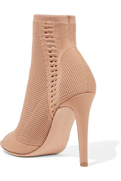 Gianvito Rossi - Vires Peep-toe Perforated Stretch-knit Ankle Boots - Sand - IT41.5
