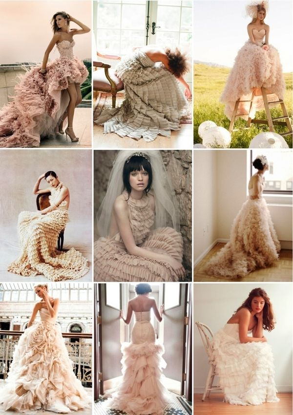 Cakes aren't the only trending wedding ruffle...The dresses are beautiful too!