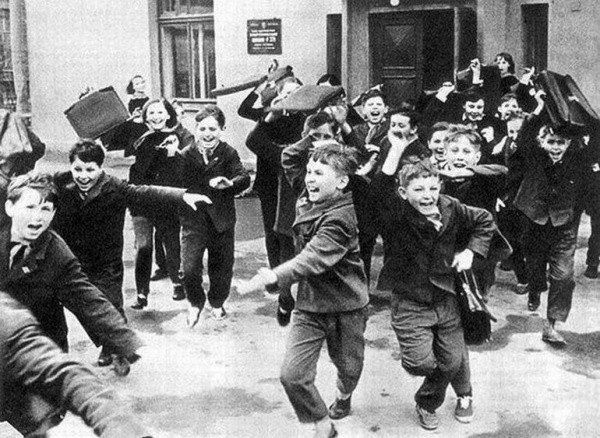 :), photo from USSR. Still, saw many times in Romania the same scene at the end of the school day.