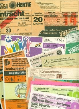 Mainly German match programmes with accompanying tickets, Euro 88, Bayern Munich and 1860 Munich issues plus Tottenham Hotspur aways at Eintracht Frankfurt 1981/2, Bayern Munich 1982/3 and 1983/4 | Auctioned by Steve Allison @SteveAllisonFL