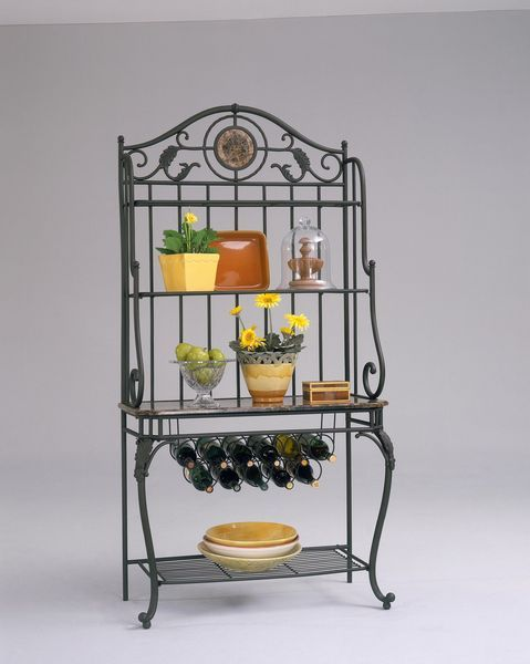 Old Steel Marble Inset Wine Storage Kitchen Bakers Rack
