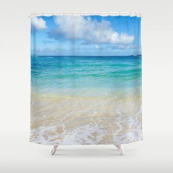 Beach Shower Curtain with Hawaiian ocean view from beachlovedecor.com, 71x74 inches #ocean #beach #showercurtain #bathroomdecor #bathdecor #beachlovedecor