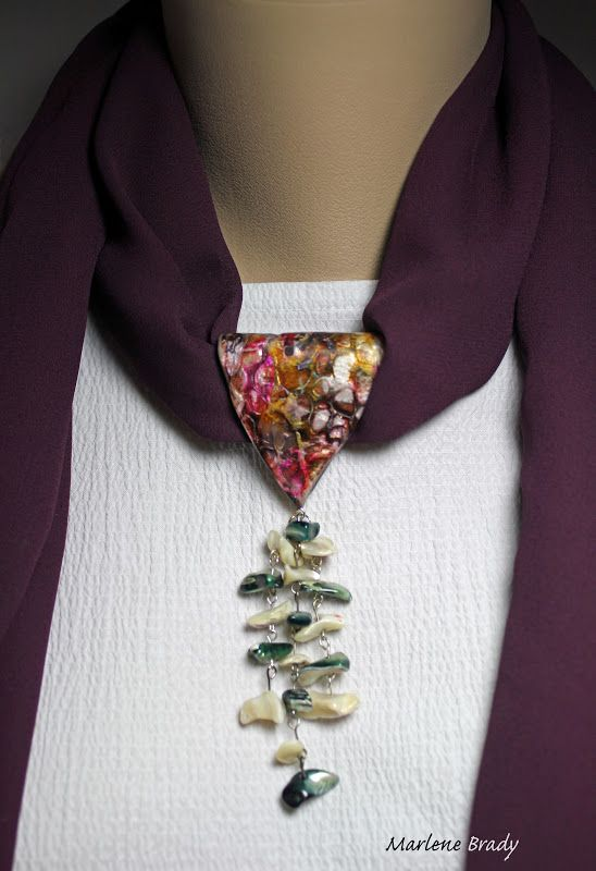 perhaps an idea for using my black-red-pearl pin; from It's All About Creating: Polymer Bail - Scarf Jewelry;