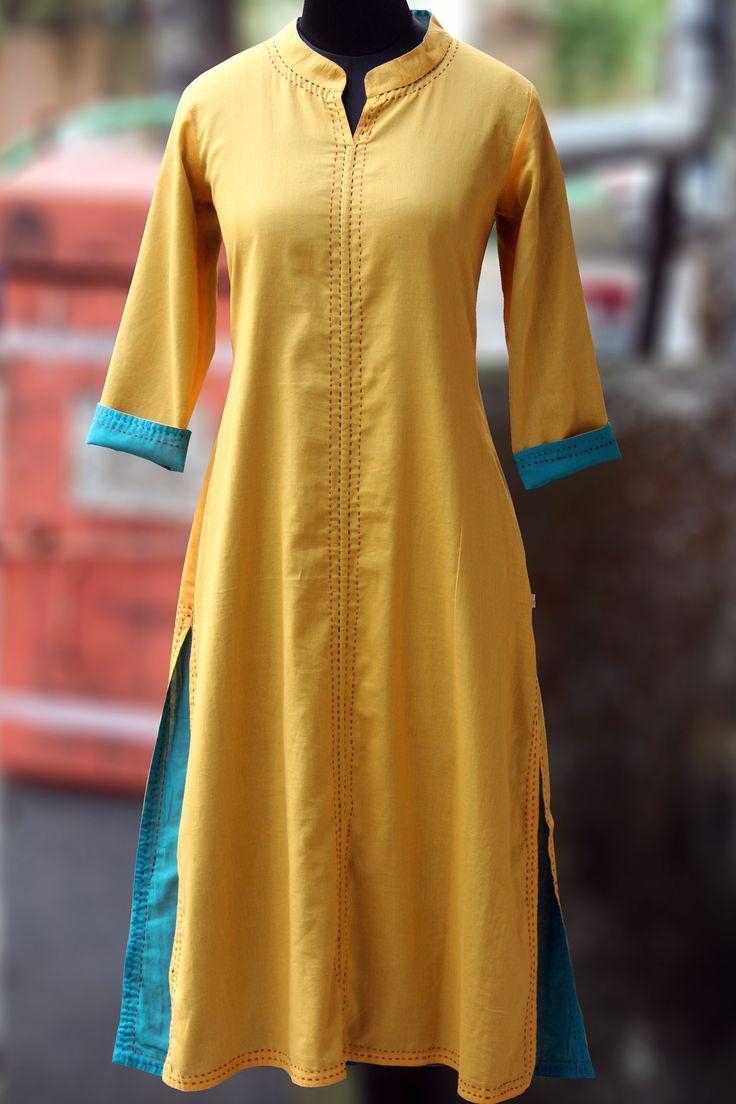 Maati crafts Yellow Cotton Solid Straight Kurti