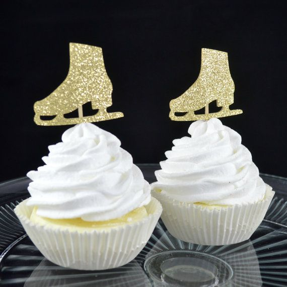 Ice Skate Cupcake Toppers - Set of 12 - Ice Skating Birthday Party - Winter Theme - Gold Glitter - Figure Skating - Girl Birthday Decor