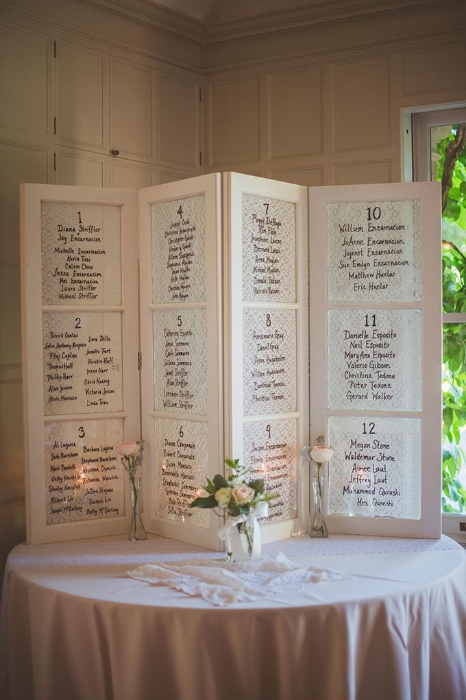 White vintage looking window frame with lace patterned paper glass panels used as table plan. For more inspiration visit www.weddingsite.co.uk