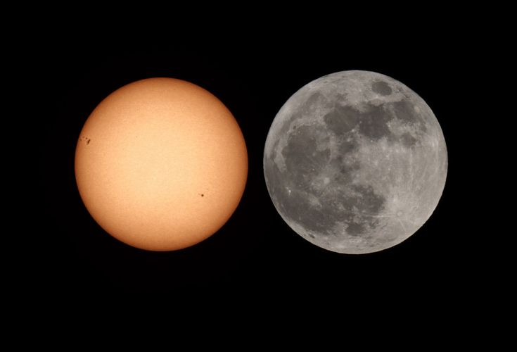Sun vs. Super Moon.  The Super Moon wins, by just a little, when its apparent size is compared to the Sun in this ingenious composite picture. To make it, the Full Moon on May 6 was photographed with the same camera and telescope used to image the Sun (with a dense solar filter!) on the following day.
