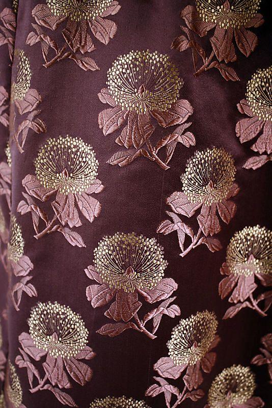 Gorgeous close-up photograph of wedding dress fabric. American. 1884. Silk.