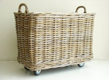 3 large for Mudroom -Rolling Rattan Baskets...