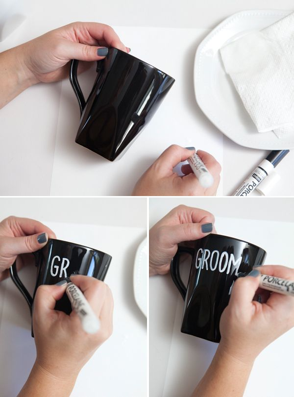 Wedding #DIY ~ adorable and easy personalized bride + groom coffee mugs!Parties Gift, Writing On Coffee Mugs, Brides Grooms, Personalized Writing, Brides & Grooms Stuff, Personalized Coffee Mugs, Personalized Coffee Cups, Diy Brides, Diy Coffee