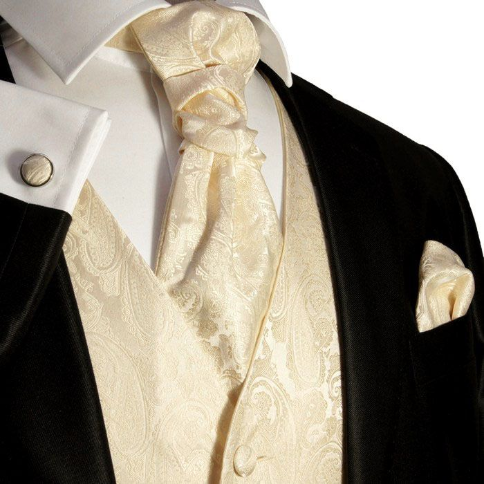 Champagne Paisley Tuxedo Vest Set by Paul Malone (V26)