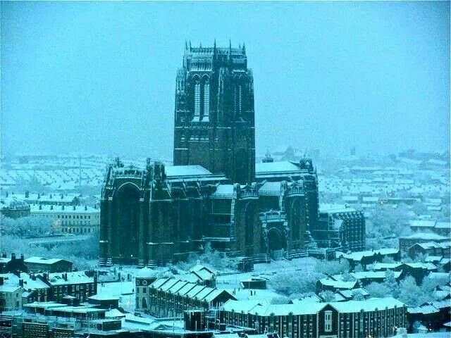 View of Liverpool cathedral in the snow