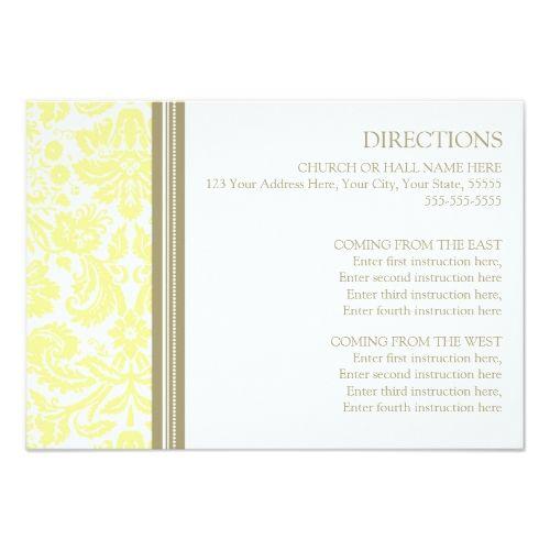 Damask RSVP Wedding Invitations Wedding Direction Cards Tan Yellow Damask