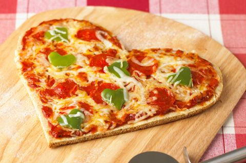 pizza - green pepper hearts!