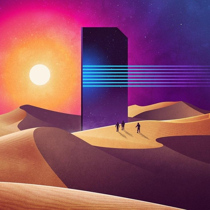 "A mixture of science fiction landscapes and abstract monuments, part of James White's ""Neowave Series"" : outrun"
