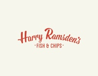 Harry Ramsden's Rebrand by Jack Barker, via Behance     Harry Ramsden's is one of THE yummiest places to get fish and chips back home. They also have really good mushy peas.