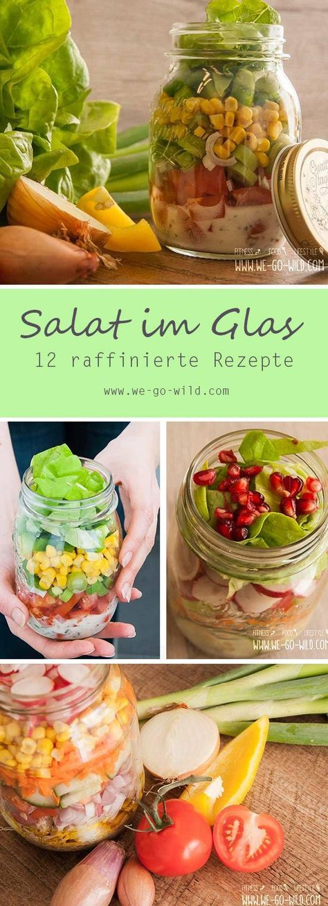 Snack-Idee zum Mitnehmen: Salat im Glas ist das perfekte Rezept für das Büro. Ein gesunder …   – Essen