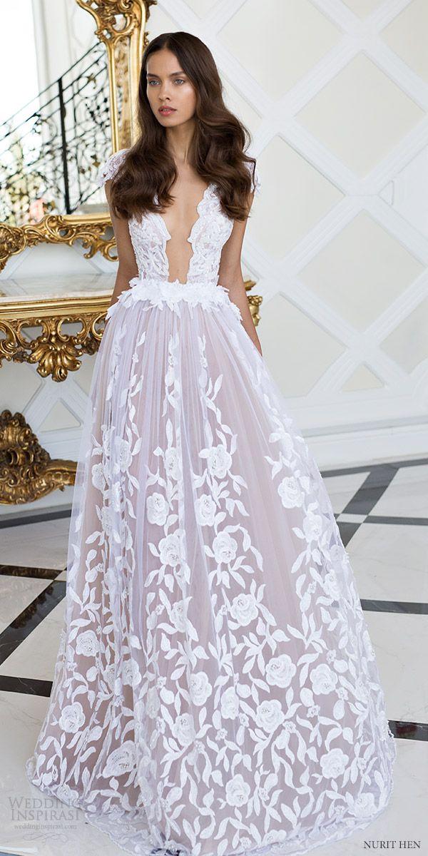 nurit hen 2016 cap sleeves deep vneck aline wedding dress (pw18) mv romantic