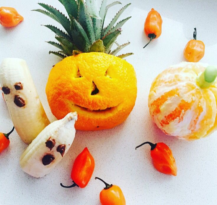 Our Halloween creation! #fruit #orange #banana #healthy #cleaneating