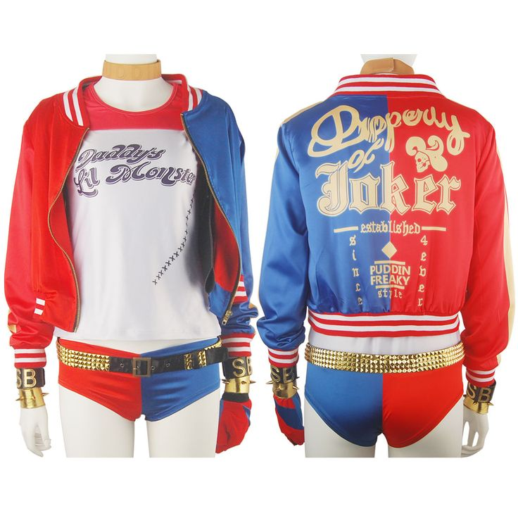 Suicide Squad Harley Quinn Outfit Full Set Cosplay Costume DC Comics Batman Halloween Cosplay Comic-con Costume Women Girls Xmas Gift