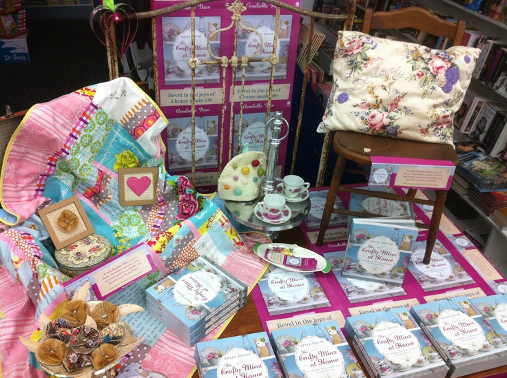 Love the vintage brass and children's chair Collins Ballarat have used in their Crafty Minx display!