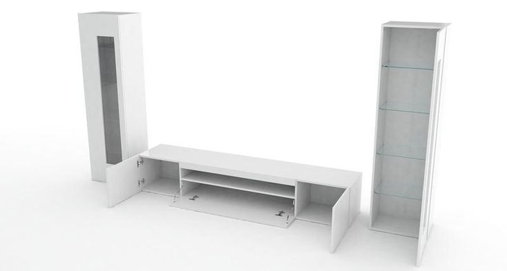 Aquila, modern TV cabinet and display units combination in white gloss finish, optional lights