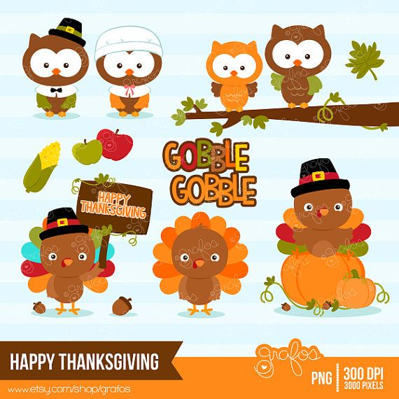 HAPPY THANKSGIVING Digital Clipart, Thanksgiving Turkey Clipart, Thanksgiving Owls Clipart / Instant Download